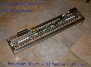 Patentschaar®  Custom made 33 tanden - 900 mm RVS voor handbediening, inclusief knipgeleider en werkt op perslucht. Prijs op aanvraag.